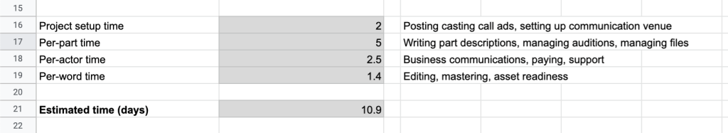 You have access to this spreadsheet for your own calcs.